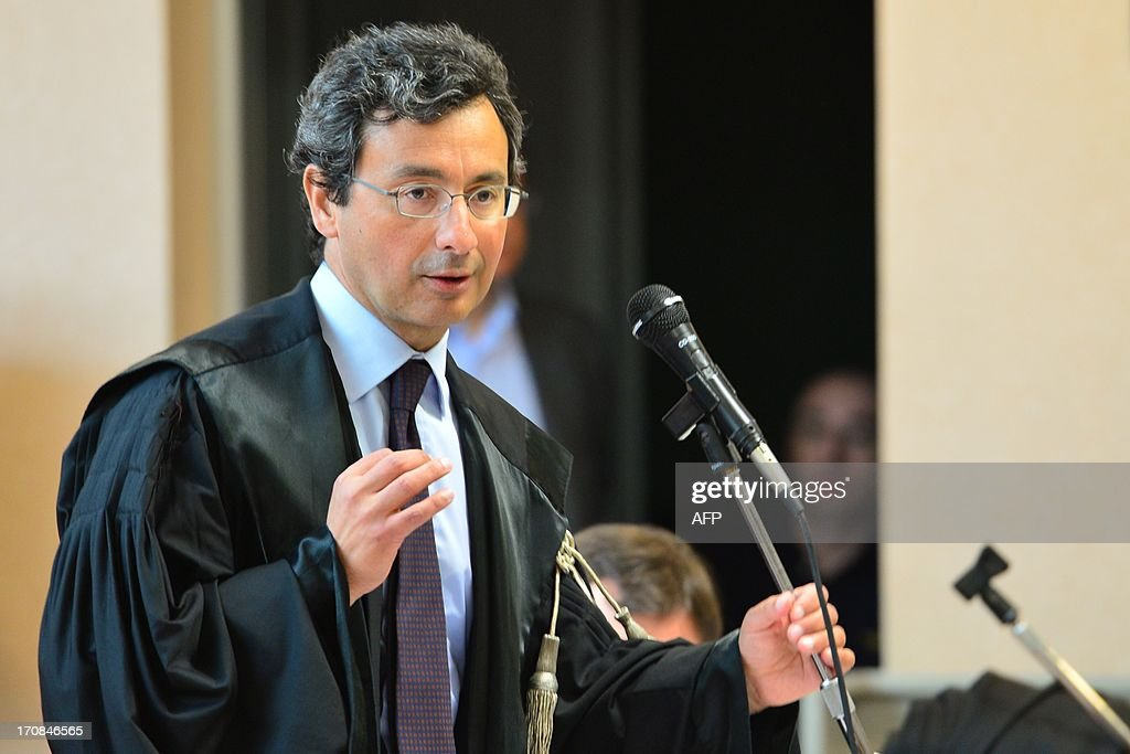 Prosecutor Eugenio Fusco speaks during the trial to Giuseppe Orsi former head of the Italian aerospace and defense giant Finmeccanica on June 19, 2013 at the courtroom in Busto Arsizio near Varese. The former head of Finmeccanica goes on trial in a case involving alleged bribes to win a 560 Mio euro helicopter contract in India.