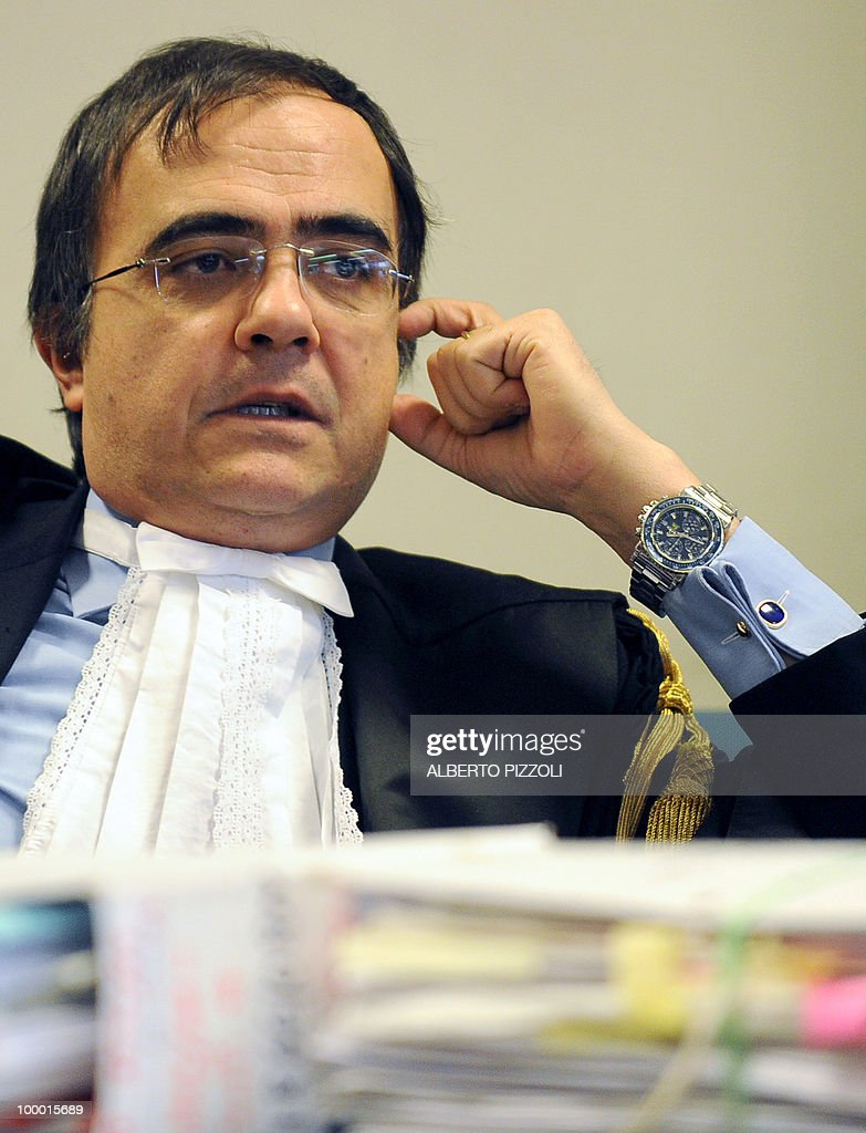 Prosecutor Francesco Scavo pauses during the Rev. Ruggero Conti trial in Rome's Palace of Justice on May 20, 2010. Rev. Ruggero Conti, 56, was arrested in June 2008 and is now on trial for sexually abusing two children in his parish of Selva Candida in the outskirts of Rome.