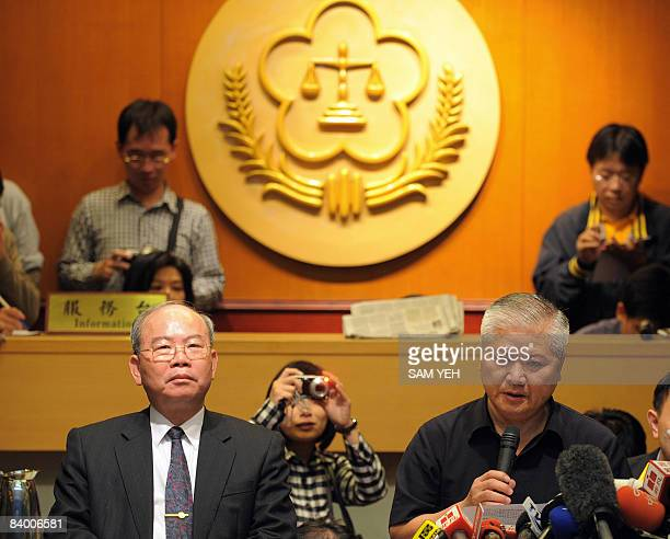 Prosecutor General Chen Tsungming and prosecutor's spokesman Chen Yunnan hold a press conference at the Justice Ministry in Taipei on December 12...