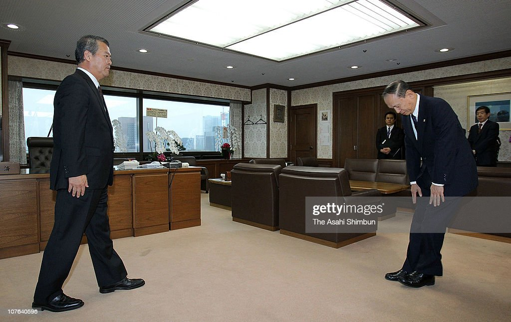 Prosecutor General Hiroshi Obayashi bows for apology to Justice Minister <a gi-track='captionPersonalityLinkClicked' href=/galleries/search?phrase=Minoru+Yanagida&family=editorial&specificpeople=7193226 ng-click='$event.stopPropagation()'>Minoru Yanagida</a> prior to their meeting at Ministry of Justice on October 21, 2010 in Tokyo, Japan. Supreme Prosecutors Office indicted two senior prosecutors in connection with postal discount scandal.