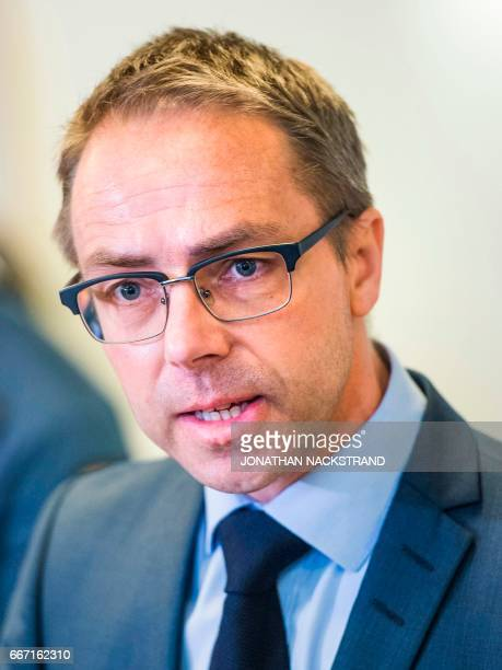 Prosecutor Hans Ihrman addresses media at Stockholm District Court on April 11 prior to remand hearings of Uzbek national Rakhmat Akilov the prime...