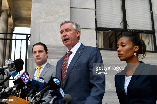 Prosecutor Kevin Steele speaks at a press conference after the pretrial hearing for the sexual assault trial of US entertainer Bill Cosby at...