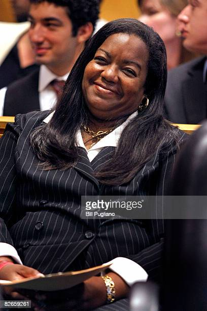 Prosecutor Kim Worthy sits in Wayne County Circuit Court during a plea hearing with Detroit Mayor Kwame Kilpatrick September 4 2008 in Detroit...