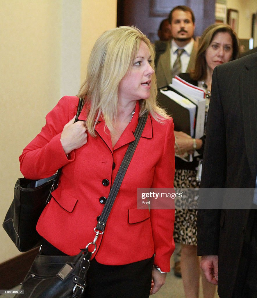 Prosecutor Linda Drane Burdick leaves the courtroom after Casey Anthony was found not guilty in her 1st-degree murder trial at the Orange County Courthouse on July 5, 2011 in Orlando, Florida. Casey Anthony had been accused of murdering her two-year-old daughter Caylee in 2008 and was found not guilty of manslaughter in the first degree.