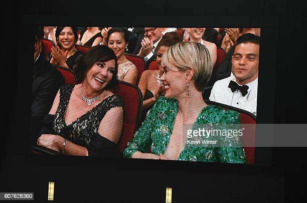 Prosecutor Marcia Clark and actress Sarah Paulson seen on video screen during the 68th Annual Primetime Emmy Awards at Microsoft Theater on September...