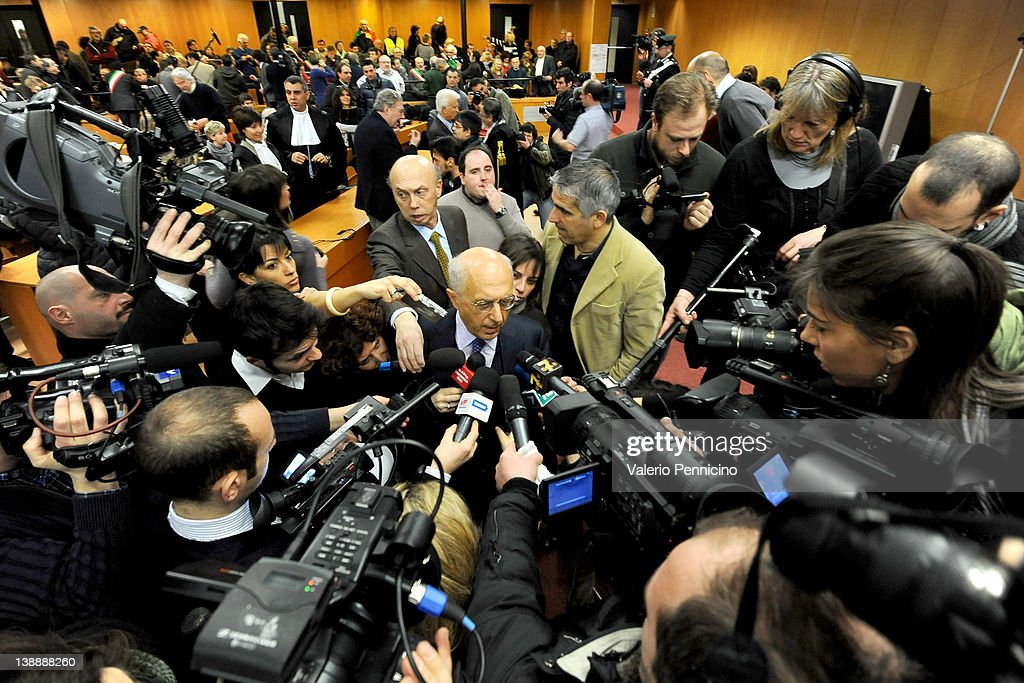 Prosecutor Raffaele Guariniello is surrounded by media prior to the Eternit asbestos trial verdict at the Turin courthouse on February 13, 2012 in Turin, Italy. The Turin court has convicted Swiss billionaire Stephan Schmidheiny and Belgian baron Jean-Louis de Cartier for 16 years each after they were accused of involuntary manslaughter and disregard for workplace safety regulations, after a three year trial. Around 1500 relatives and friends of the alleged 3000 victims attended the final day of the trial with 160 foreign delegations attending from all over the world.