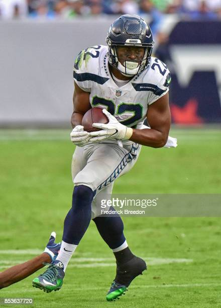 J Prosise of the Seattle Seahawks plays against the Tennessee Titans at Nissan Stadium on September 24 2017 in Nashville Tennessee