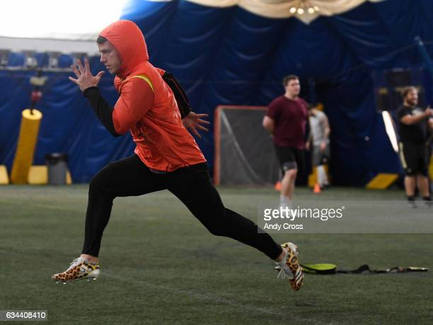 NFL prospect Christian McCaffrey warms up for the 40yard dash during a mock NFL combine at the South Suburban Sports Dome February 09 2017