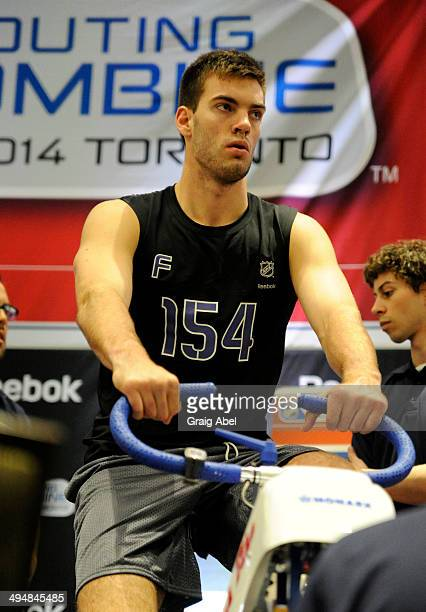 Prospect Hunter Smith takes part in testing at the NHL Scouting Combine May 31 2014 at the International Centre in Toronto Ontario Canada