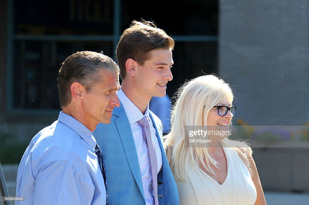 NHL prospect Julien Gauther poses for a photo with his parents outside First Niagara Center prior to round one of the 2016 NHL Draft at First Niagara Center on June 24, 2016 in Buffalo, New York.