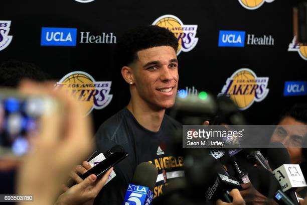 Prospect Lonzo Ball speaks with the media after a workout with the Los Angeles Lakers at Toyota Sports Center on June 7 2017 in El Segundo California...
