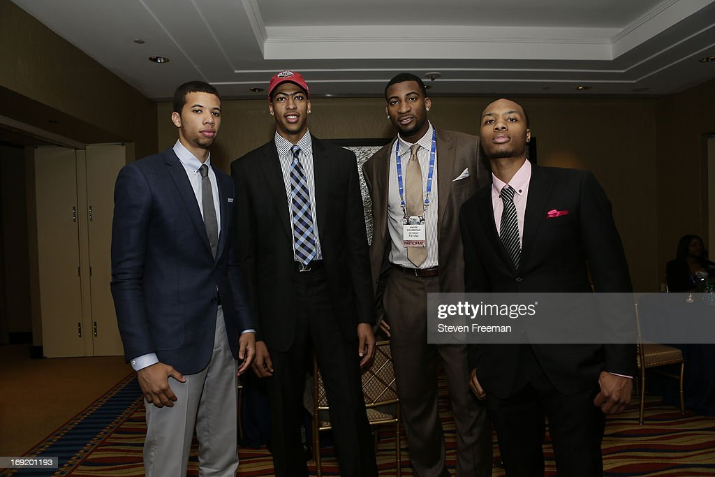 NBA Prospect Michael Carter Williams, Anthony Davis of the New Orleans Pelicans, Andre Drummond of the Detroit Pistons and Damian Lillard of the Portland Trail Blazers poses for a photo during a reception for the 2013 NBA Draft Lottery on May 21, 2013 at the Millennium Hotel in New York City.