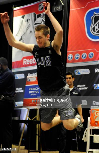 Prospect Ryan MacInnis takes part in testing at the NHL Scouting Combine May 31 2014 at the International Centre in Toronto Ontario Canada
