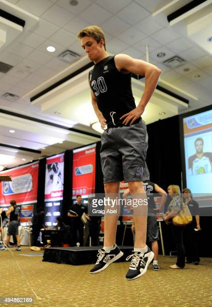 Prospect Travis Sanheim takes part in testing at the NHL Scouting Combine May 31 2014 at the International Centre in Toronto Ontario Canada
