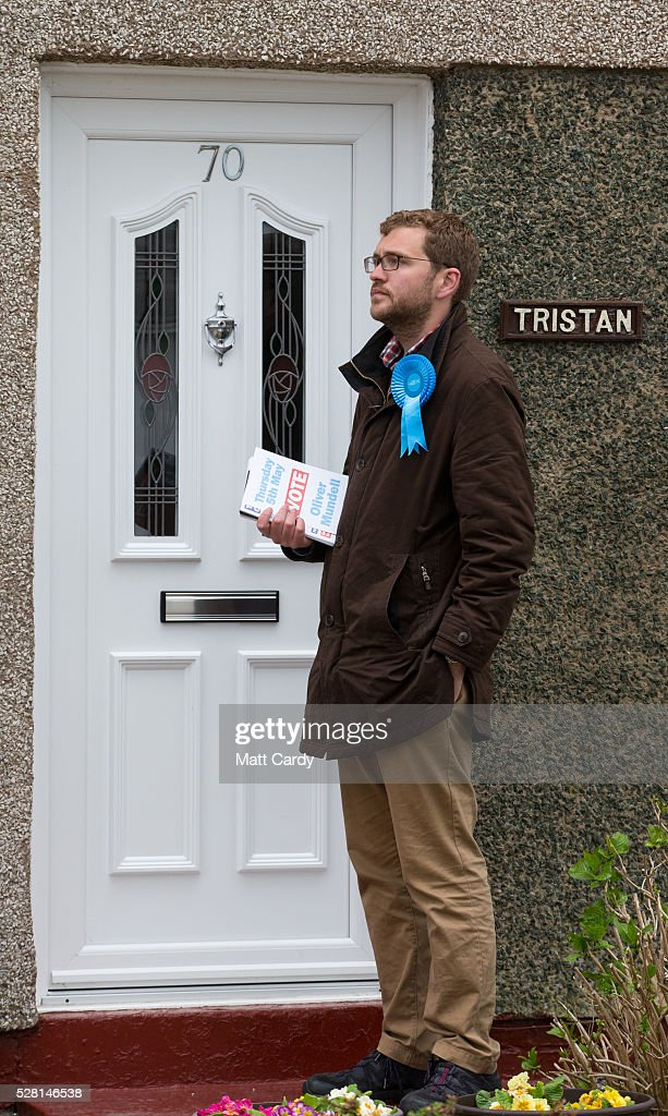 Prospective Conservative MSP for Dumfriesshire Oliver Mundell canvasses on the doorstep of a housing estate on May 4, 2016 in Dumfries, Scotland. The son of David Mundell, the Secretary of State for Scotland and the only Tory MP in Scotland, is hoping that disgruntled Labour voters and a swing to the Conservatives in the constituency he is campaigning in will lead to him taking a place in Holyrood in tomorrow's Scottish Parliament elections. As campaigning for the Holyrood election enters its last twenty four hours, recent polls suggest the Conservatives are virtually neck-and-neck with Labour in the race to be the main opposition party in Scotland.