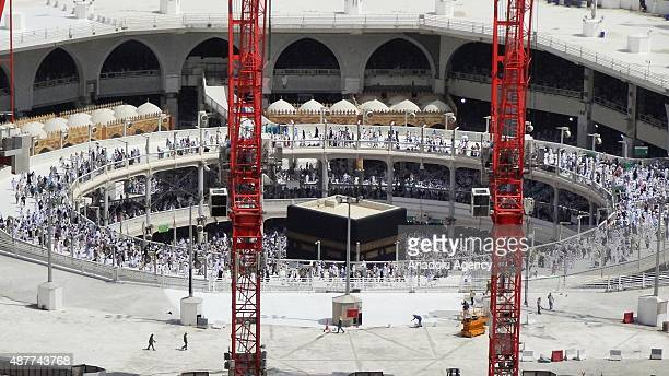 Prospective Muslim pilgrims are seen during holy friday prayer around the Kaaba at Masjid alHaram in Mecca Saudi Arabia on September 11 2015