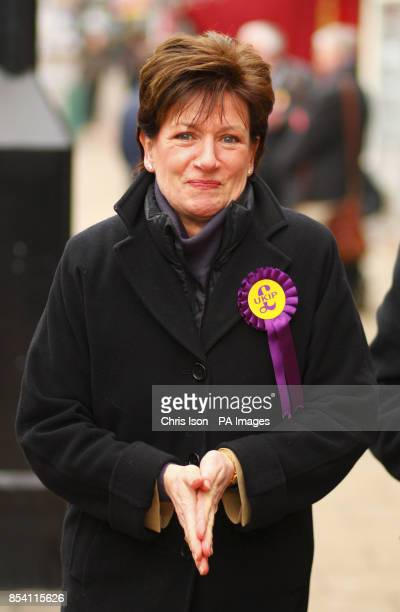 UKIP prospective parliamentary candidate Diane James with party leader Nigel Farage on the hustings in Eastleigh Hampshire where a byelection will be...