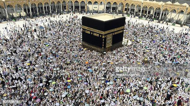 Prospective pilgrims make the farewell circumambulation of the Kaaba on the last day of Eid AlAdha after stoning of the devil ritual during Hajj in...