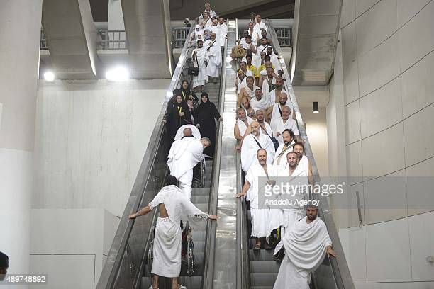 Prospective pilgrims on their way to Jamarat to stone the devil as part of the annual Islamic Hajj pilgrimage during the first day of Eid Al Adha in...
