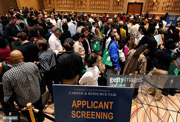 Prospective workers line up at the Rio Hotel Casino during a job fair for Harrah's Entertainment Inc April 14 2010 in Las Vegas Nevada The gaming...