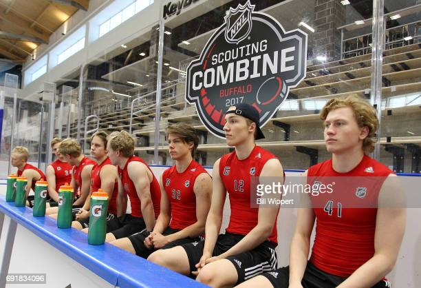 Prospects await their turns for testing during the NHL Combine at HarborCenter on June 3 2017 in Buffalo New York