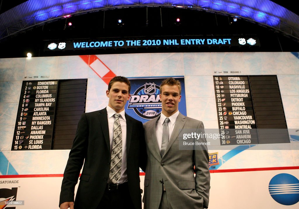 NHL prospects Tyler Seguin and Taylor Hall pose during the 2010 NHL Entry Draft at Staples Center on June 25, 2010 in Los Angeles, California.