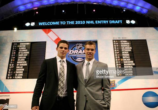 NHL prospects Tyler Seguin and Taylor Hall pose during the 2010 NHL Entry Draft at Staples Center on June 25 2010 in Los Angeles California