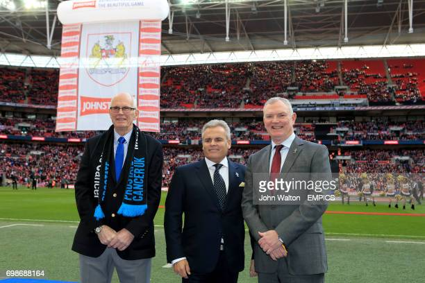 Prostate Cancer UK Ambassador Mike Wilgoss CEO of Johnstone's Steve Pocock and Chairman of the Football League Greg Clarke