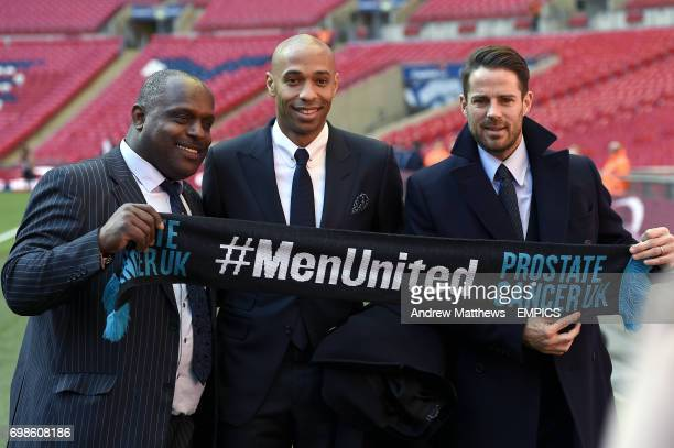 Prostate Cancer UK representative Errol Mckellar with Thierry Henry and Jamie Redknapp as they show their support for the charity