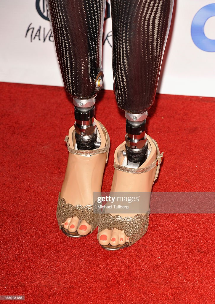 Prosthetic legs belonging to U.S. Olympic Snowboarder Amy Purdy at the OK! TV Awards Party at Sofitel Hotel on August 21, 2014 in Los Angeles, California.