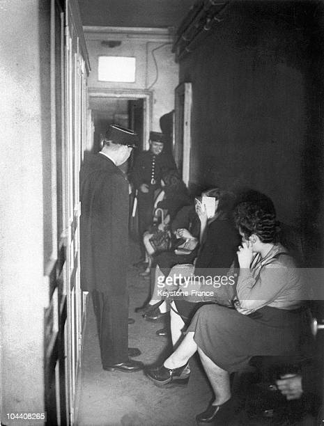 Prostitutes are waiting in the Police station of Paris after a mass arrest in the neighborhood of Montmartre