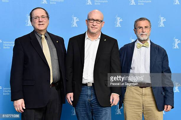 Protagonist David Sanger director Alex Gibney and protagonist Yossi Melman attend the 'Zero Days' photo call during the 66th Berlinale International...