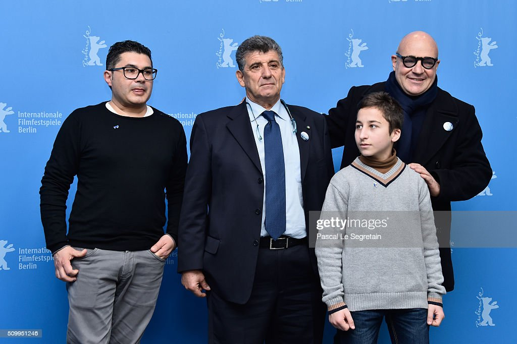 Protagonists Pietro Bartolo, Samuele Pucillo and director Gianfranco Rosi attend the 'Fire at Sea' (Fuocoammare) photo call during the 66th Berlinale International Film Festival Berlin at Grand Hyatt Hotel on February 13, 2016 in Berlin, Germany.