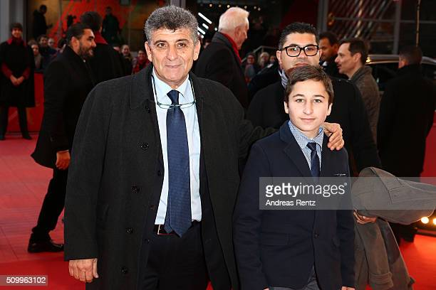 Protagonists Pietro Bartolo Samuele Pucillo and guest attend the 'Fire at Sea' premiere during the 66th Berlinale International Film Festival Berlin...