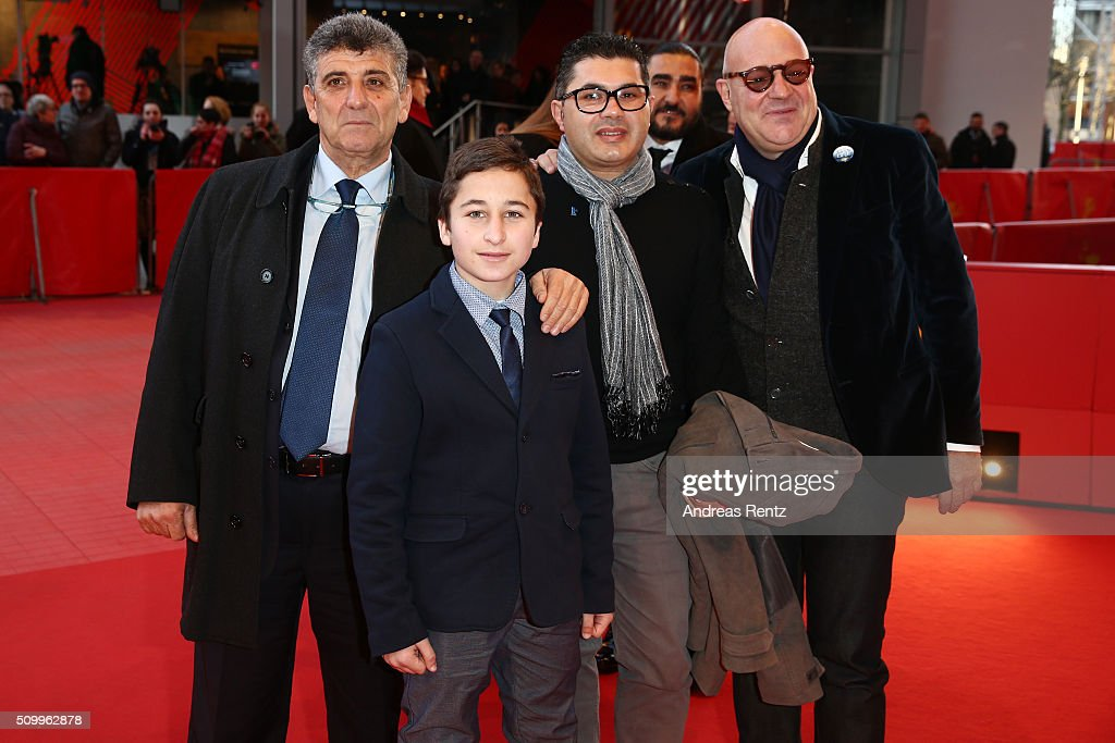 Protagonists Pietro Bartolo, Samuele Pucillo, guest and director Gianfranco Rosi attend the 'Fire at Sea' (Fuocoammare) premiere during the 66th Berlinale International Film Festival Berlin at Berlinale Palace on February 13, 2016 in Berlin, Germany.