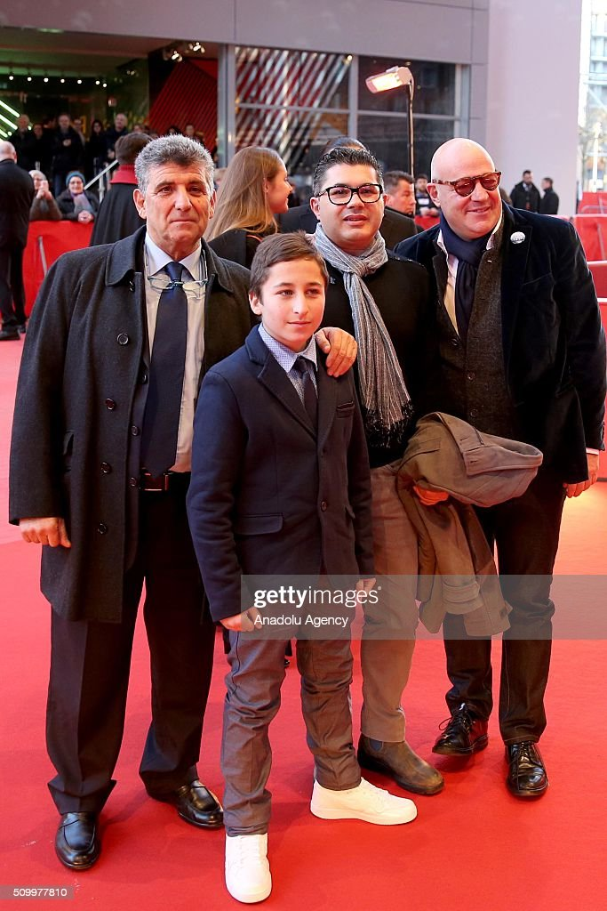 Protagonists Pietro Bartolo, Samuele Pucillo, Giuseppe Fragapane and director Gianfranco Rosi attend the 'Fire at Sea' (Fuocoammare) premiere during the 66th Berlinale International Film Festival Berlin at Berlinale Palace on February 13, 2016 in Berlin, Germany.