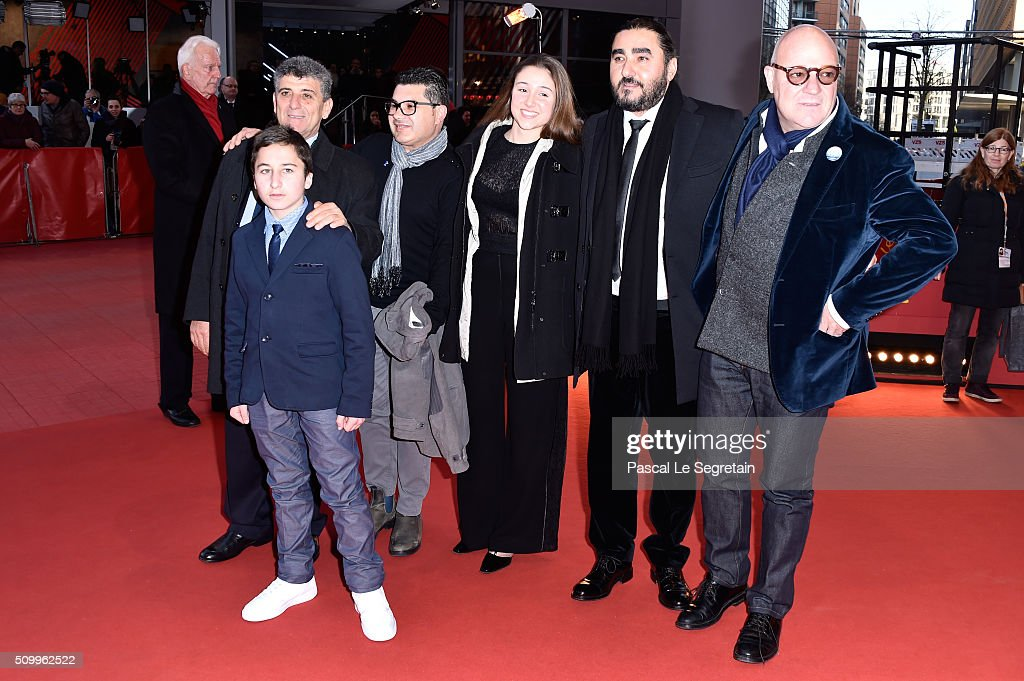 Protagonists Pietro Bartolo, Samuele Pucillo, guests and director Gianfranco Rosi attend the 'Fire at Sea' (Fuocoammare) premiere during the 66th Berlinale International Film Festival Berlin at Berlinale Palace on February 13, 2016 in Berlin, Germany.