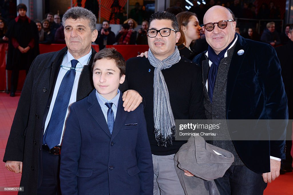 Protagonists Pietro Bartolo, <a gi-track='captionPersonalityLinkClicked' href=/galleries/search?phrase=Samuele+Pucillo&family=editorial&specificpeople=15414860 ng-click='$event.stopPropagation()'>Samuele Pucillo</a>, Giuseppe Fragapanee and director <a gi-track='captionPersonalityLinkClicked' href=/galleries/search?phrase=Gianfranco+Rosi+-+Film+Director&family=editorial&specificpeople=11450350 ng-click='$event.stopPropagation()'>Gianfranco Rosi</a> attend the 'Fire at Sea' (Fuocoammare) premiere during the 66th Berlinale International Film Festival Berlin at Berlinale Palace on February 13, 2016 in Berlin, Germany.