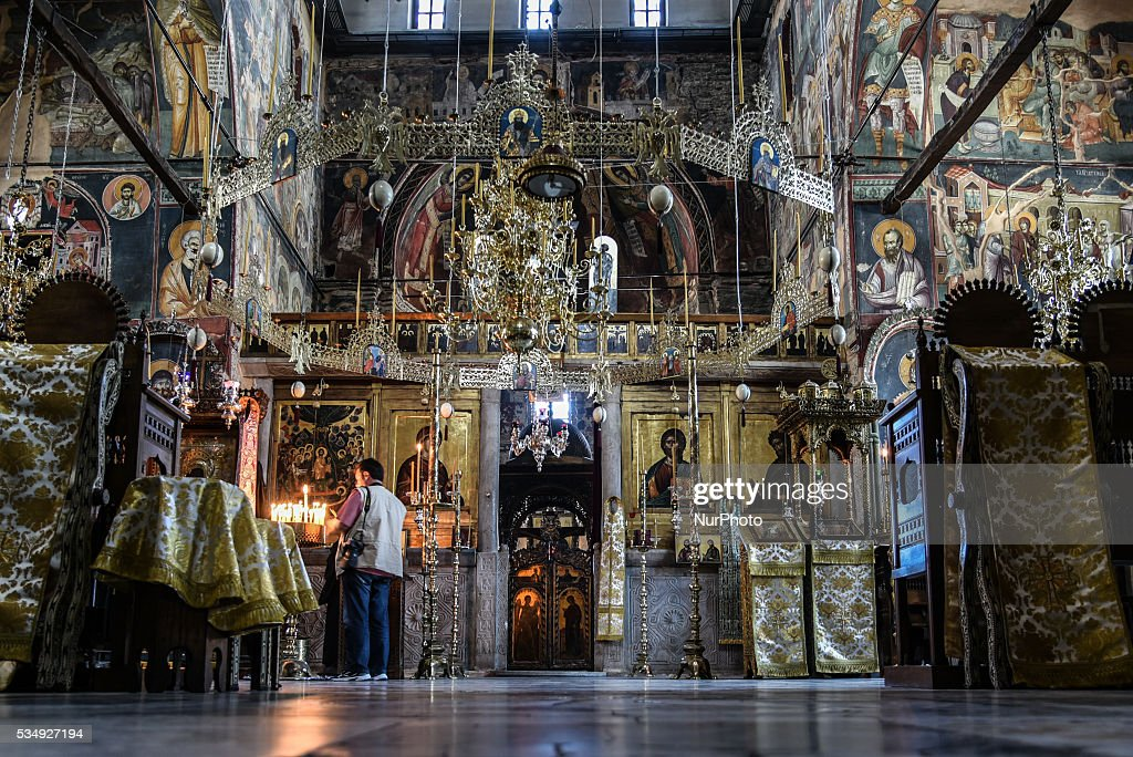 Protatou Cathedral, the church Vladimir Putin choose to worship in Mount Athos, Greece on May 28, 2016.