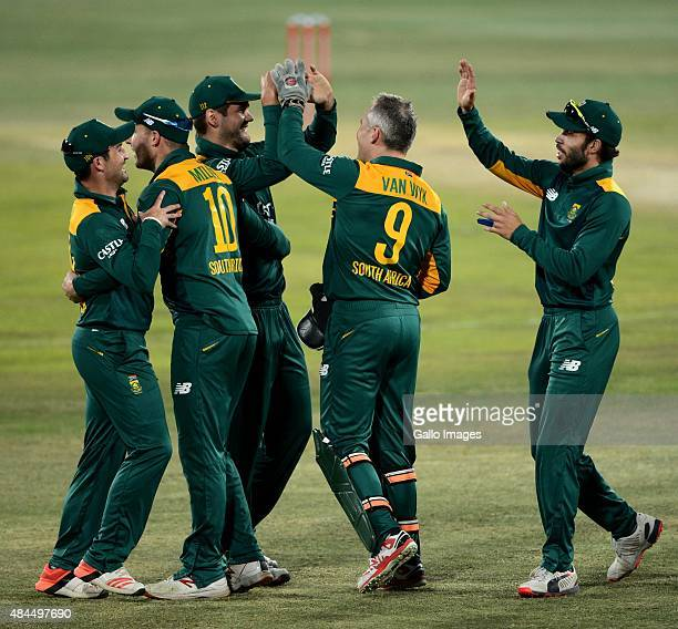Proteas players celebrate the wicket of Kane Williamson of New Zealand during the 1st ODI match between South Africa and New Zealand at SuperSport...