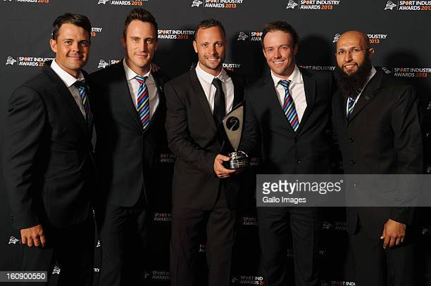 Proteas players Jaques Rudolph Faf du Plessis AB de Villiers and Hashim Amla receive the Deloitte Outstanding Contribution to South African Sport...