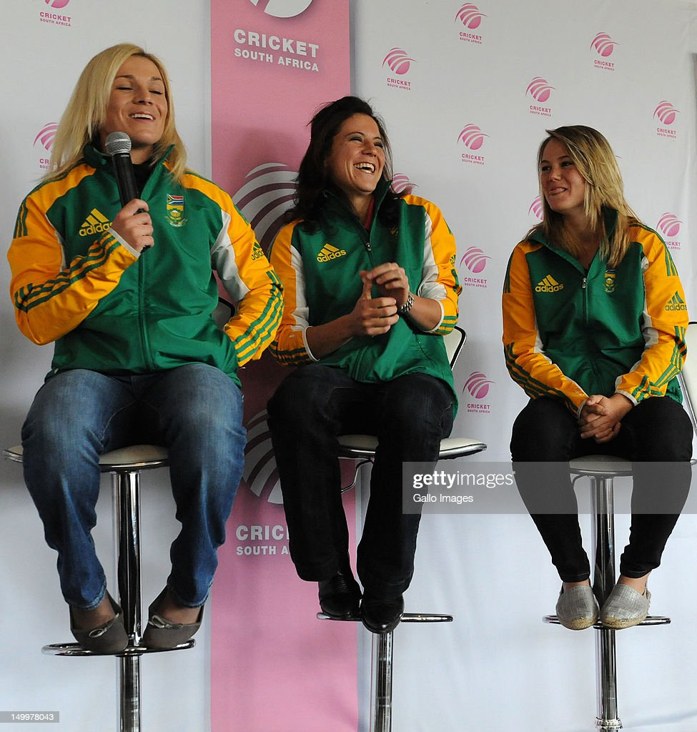 Proteas Women players Mignon du Preez, Marizanne Kapp and Done van Niekerk during the Cricket SA Womens Day event at Bidvest Wanderers Stadium on August 08, 2012 in Johannesburg, South Africa.