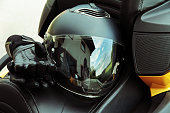 Protective clothing and safety in motorsport. Motorcycle helmet and gloves