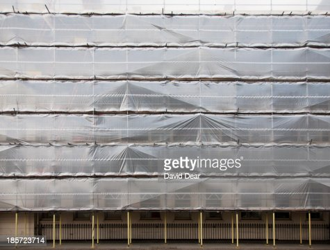Protective sheeting and scaffolding, London