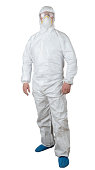person in a protective suit isolated on white