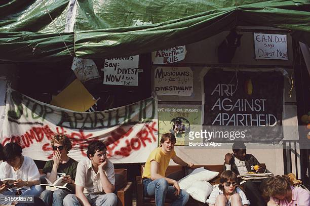 A protest against Apartheid at Columbia University New York City 4th April 1985