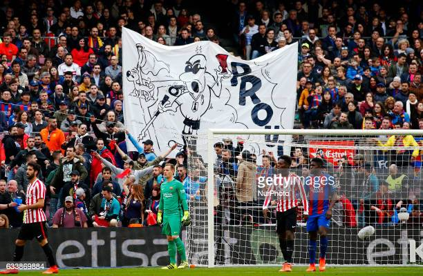 Protest against Javier Tebas the president of the LFP during La Liga match between FC Barcelona v Athletic Club in Barcelona on February 04 2017