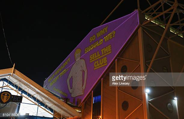 A protest against Massimo Cellino the cahirman of Leeds United is projected against Elland Road prior to the Sky Bet Championship match between Leeds...