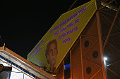 A protest against Massimo Cellino the chairman of Leeds United is projected against Elland Road prior to the Sky Bet Championship match between Leeds...