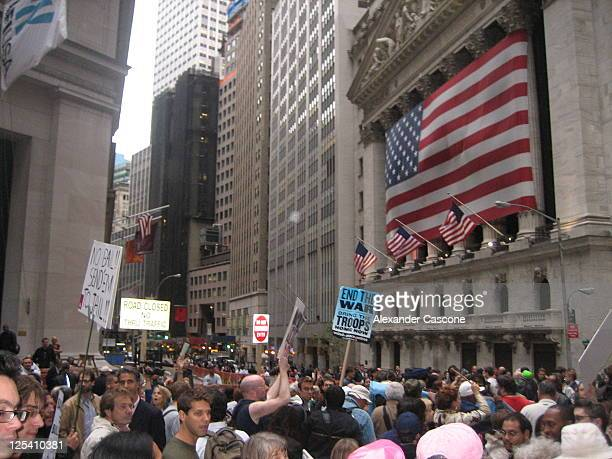 Protest against the 2008 bailouts on Wall Street right in front of The New York Stock Exchange